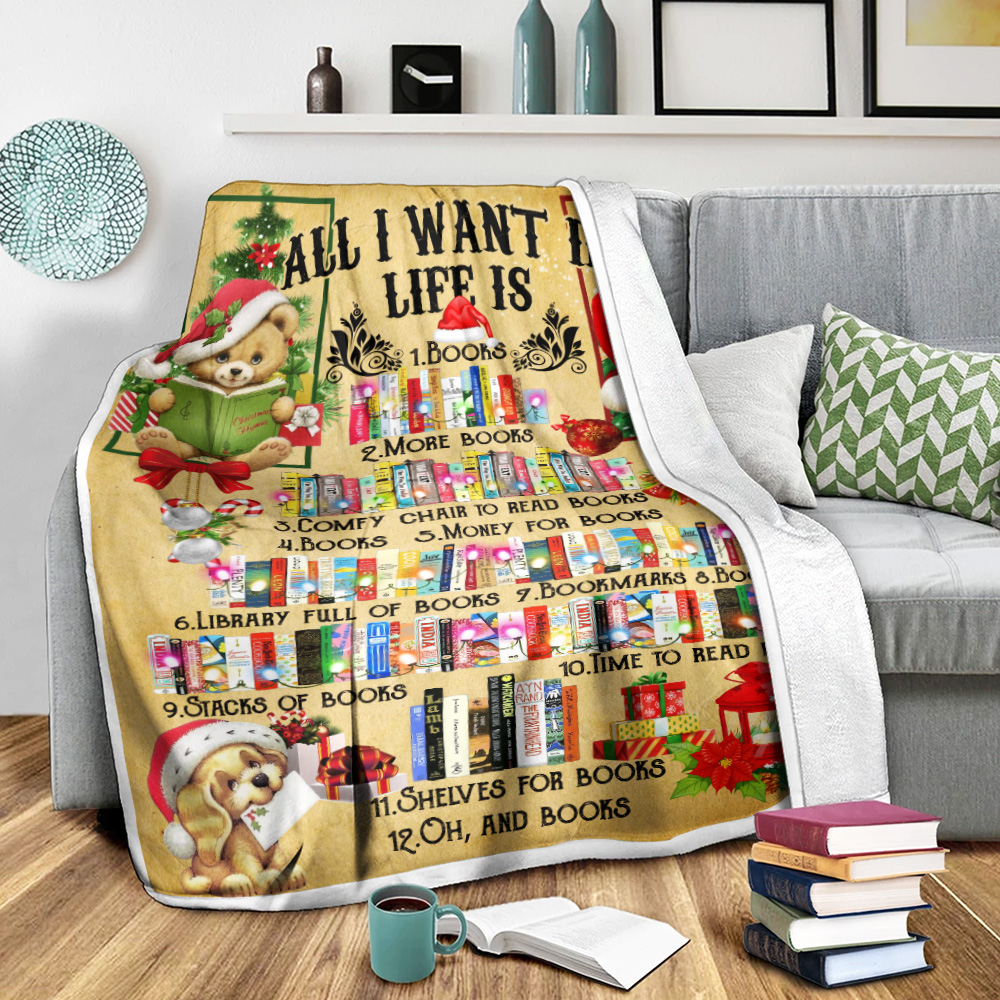 Personalized Quilt Throw Blanket All I Want For Christmas Is Books Pattern 2 Lightweight Super Soft Cozy For Decorative Couch Sofa Bed