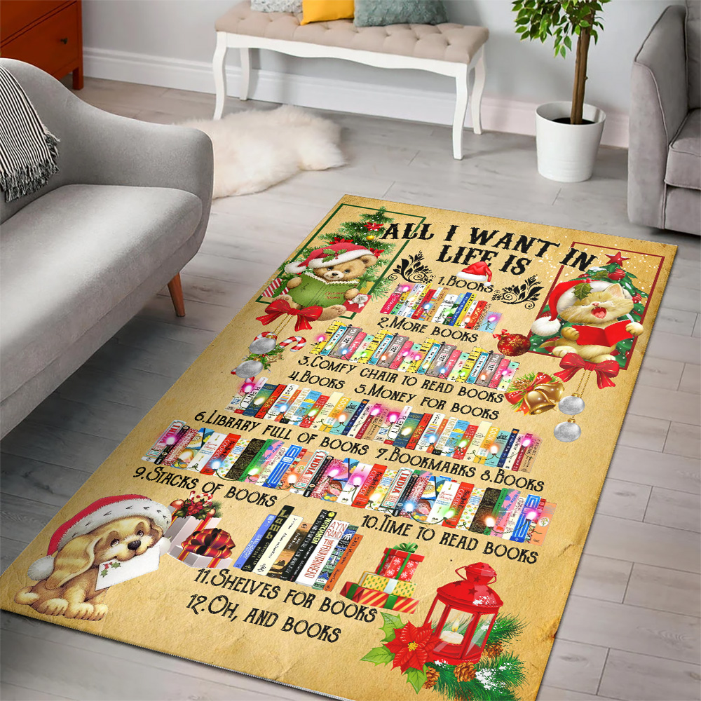 Personalized Floor Area Rugs All I Want For Christmas Is Books Pattern 2 Indoor Home Decor Carpets Suitable For Children Living Room Bedroom Birthday Christmas Aniversary