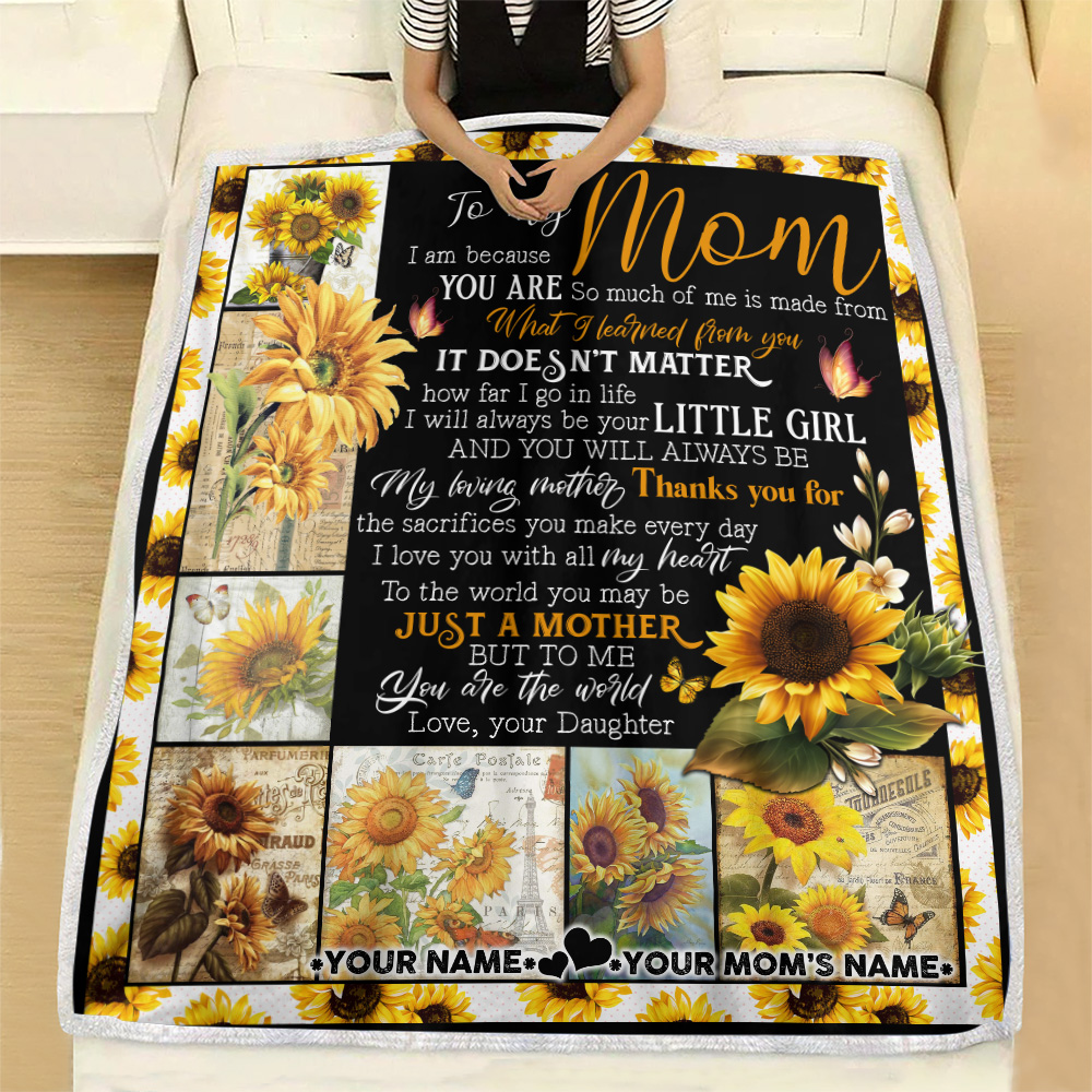 Personalized Lovely Fleece Throw Blanket To My Mom Thank You For The Sacrifices You Make Every Day Pattern 2 Lightweight Super Soft Cozy For Decorative Couch Sofa Bed