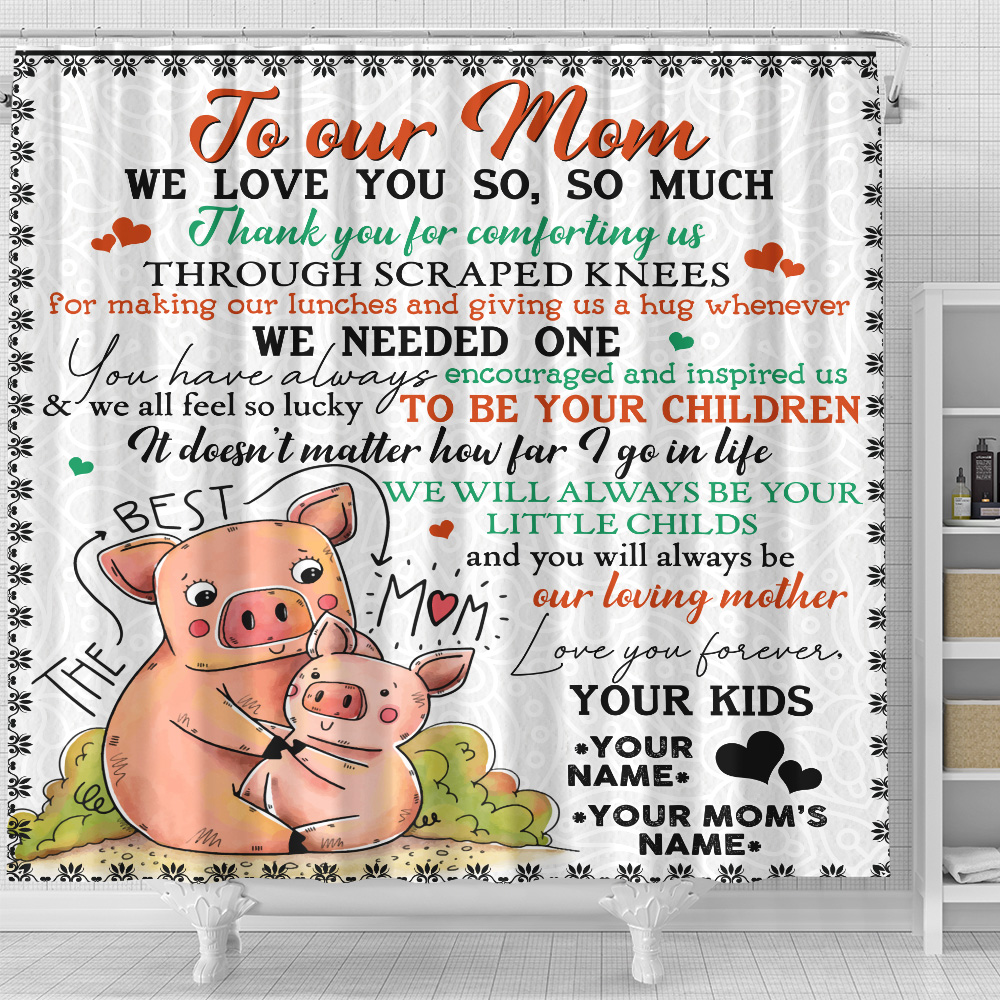 Personalized Lovely Shower Curtain To Our Mom Thank You For Comforting Us Pattern 1 Set 12 Hooks Decorative Bath Modern Bathroom Accessories Machine Washable
