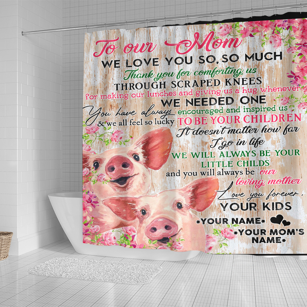 Personalized Lovely Shower Curtain To Our Mom Thank You For Comforting Us Pattern 2 Set 12 Hooks Decorative Bath Modern Bathroom Accessories Machine Washable