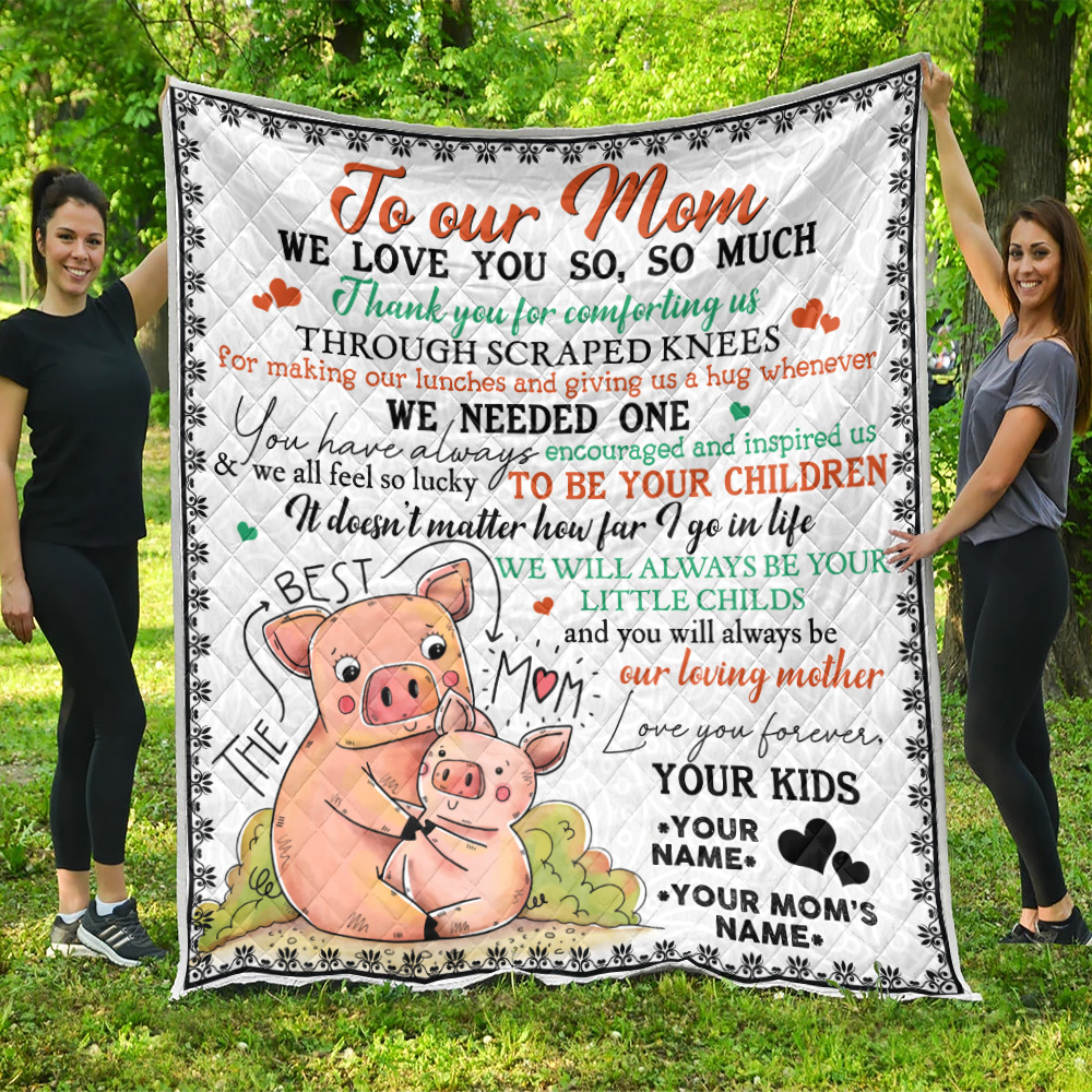 Personalized Lovely Quilt Throw Blanket To Our Mom Thank You For Comforting Us Pattern 1 Lightweight Super Soft Cozy For Decorative Couch Sofa Bed