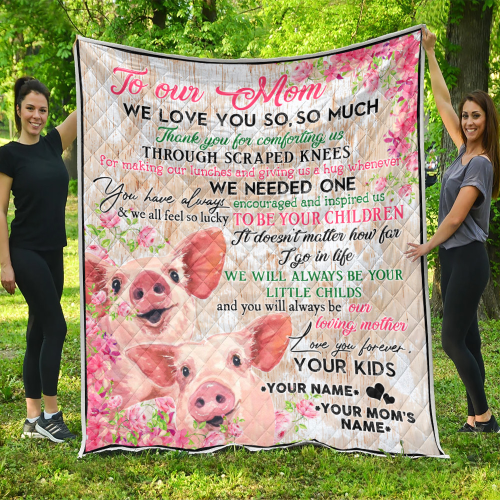 Personalized Lovely Quilt Throw Blanket To Our Mom Thank You For Comforting Us Pattern 2 Lightweight Super Soft Cozy For Decorative Couch Sofa Bed