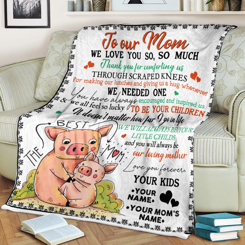 Personalized Lovely Fleece Throw Blanket To Our Mom Thank You For Comforting Us Pattern 1 Lightweight Super Soft Cozy For Decorative Couch Sofa Bed