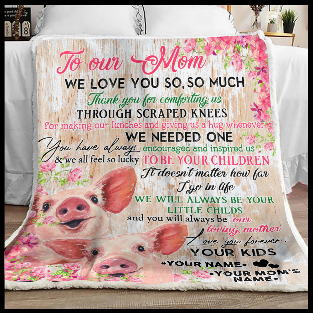 Personalized Lovely Fleece Throw Blanket To Our Mom Thank You For Comforting Us Pattern 2 Lightweight Super Soft Cozy For Decorative Couch Sofa Bed