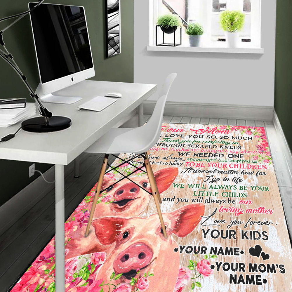 Personalized Lovely Rectangle Rug To Our Mom Thank You For Comforting Us Pattern 2 Vintage Area Rug Anti-Skid Floor Carpet For Living Room Dinning Room Bedroom Office
