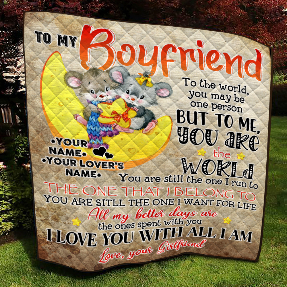 Personalized Lovely Quilt Throw Blanket To My Boyfriend You're The One I Want For Life Pattern 2 Lightweight Super Soft Cozy For Decorative Couch Sofa Bed