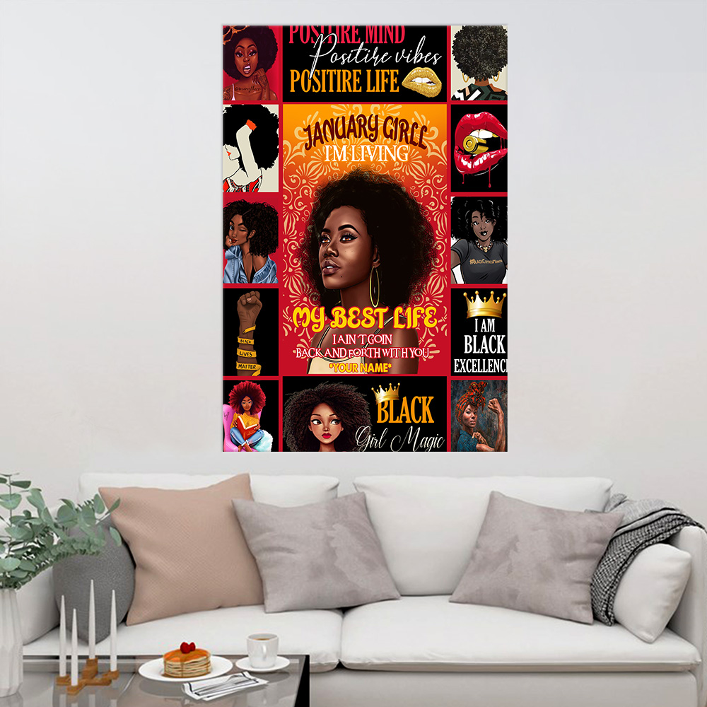 Personalized Wall Art Poster January Girl I'm Living My Best Life Pattern 1 Prints Decoracion Wall Art Picture Living Room Wall