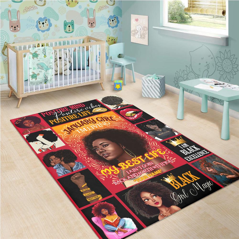 Personalized January Girl I'm Living My Best Life Pattern 1 Vintage Area Rug Anti-Skid Floor Carpet For Living Room Dinning Room Bedroom Office
