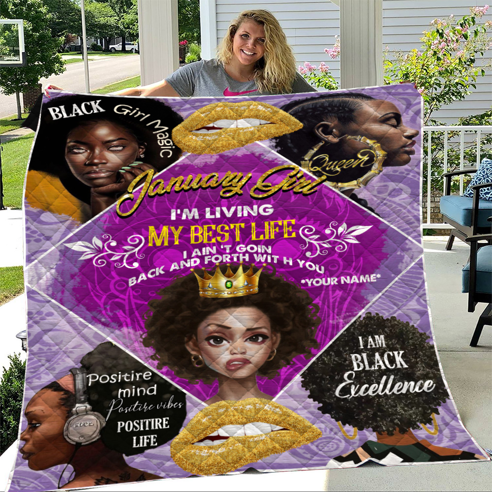 Personalized Quilt Throw Blanket January Girl I'm Living My Best Life Pattern 2 Lightweight Super Soft Cozy For Decorative Couch Sofa Bed