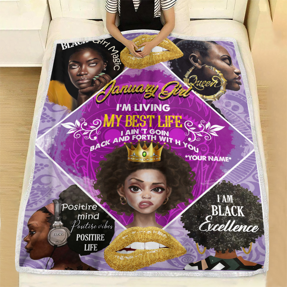 Personalized Fleece Throw Blanket January Girl I'm Living My Best Life Pattern 2 Lightweight Super Soft Cozy For Decorative Couch Sofa Bed