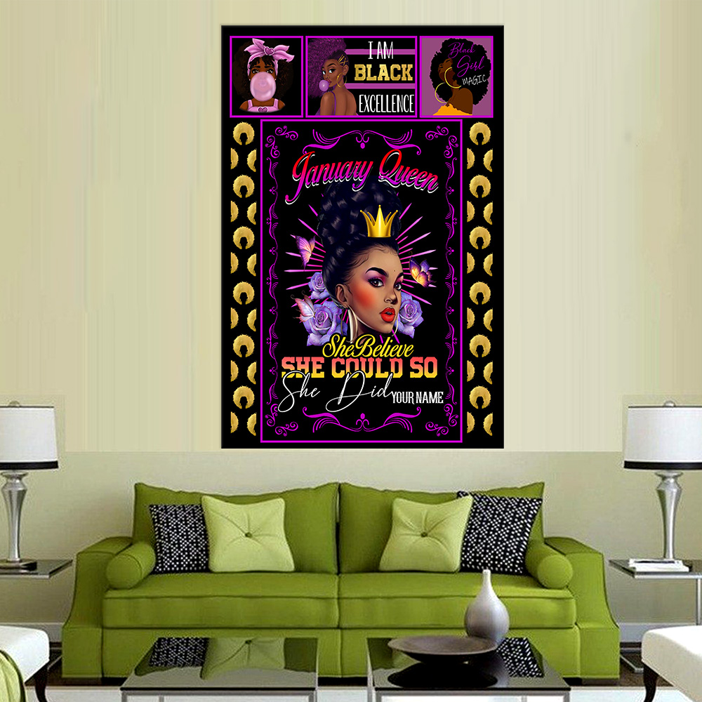 Personalized Wall Art Poster January Queen She Belive She Could So She Did Pattern 1 Prints Decoracion Wall Art Picture Living Room Wall