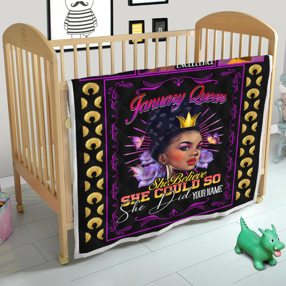 Personalized Quilt Throw Blanket January Queen She Belive She Could So She Did Pattern 1 Lightweight Super Soft Cozy For Decorative Couch Sofa Bed