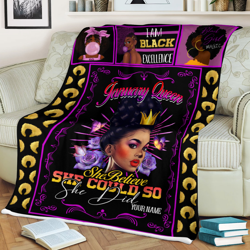 Personalized Fleece Throw Blanket January Queen She Belive She Could So She Did Pattern 1 Lightweight Super Soft Cozy For Decorative Couch Sofa Bed