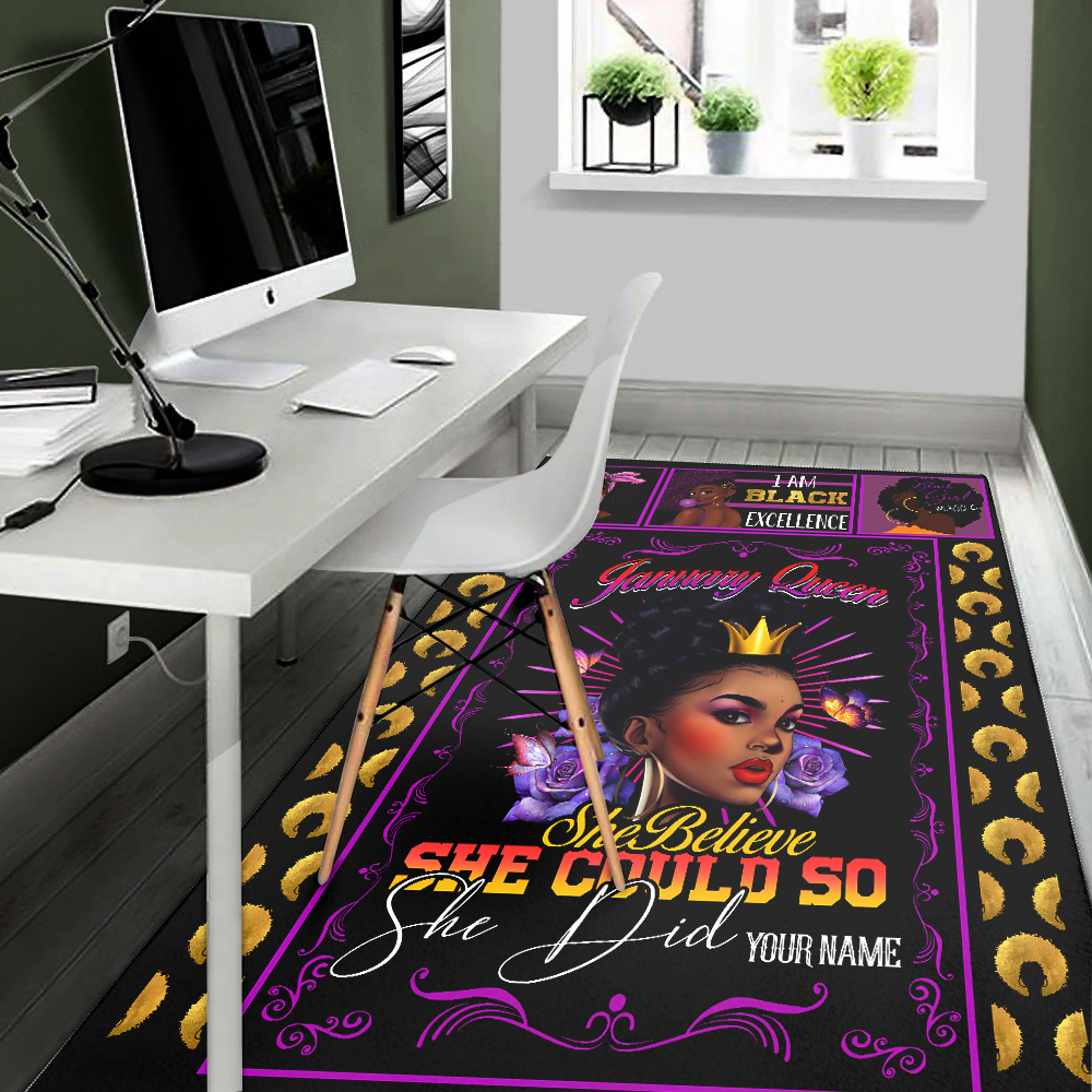 Personalized January Queen She Belive She Could So She Did Pattern 1 Vintage Area Rug Anti-Skid Floor Carpet For Living Room Dinning Room Bedroom Office