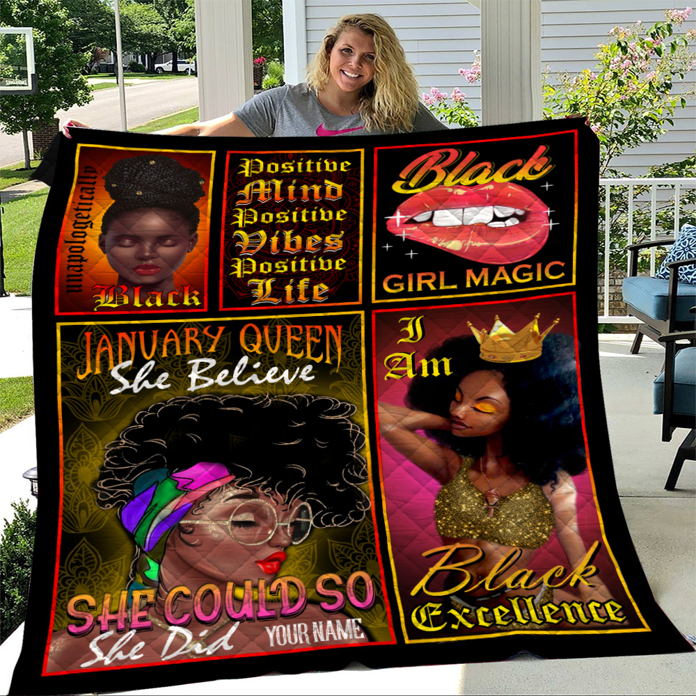 Personalized Quilt Throw Blanket January Queen She Belive She Could So She Did Pattern 2 Lightweight Super Soft Cozy For Decorative Couch Sofa Bed