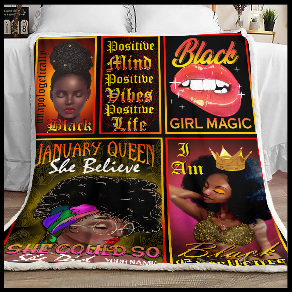 Personalized Fleece Throw Blanket January Queen She Belive She Could So She Did Pattern 2 Lightweight Super Soft Cozy For Decorative Couch Sofa Bed