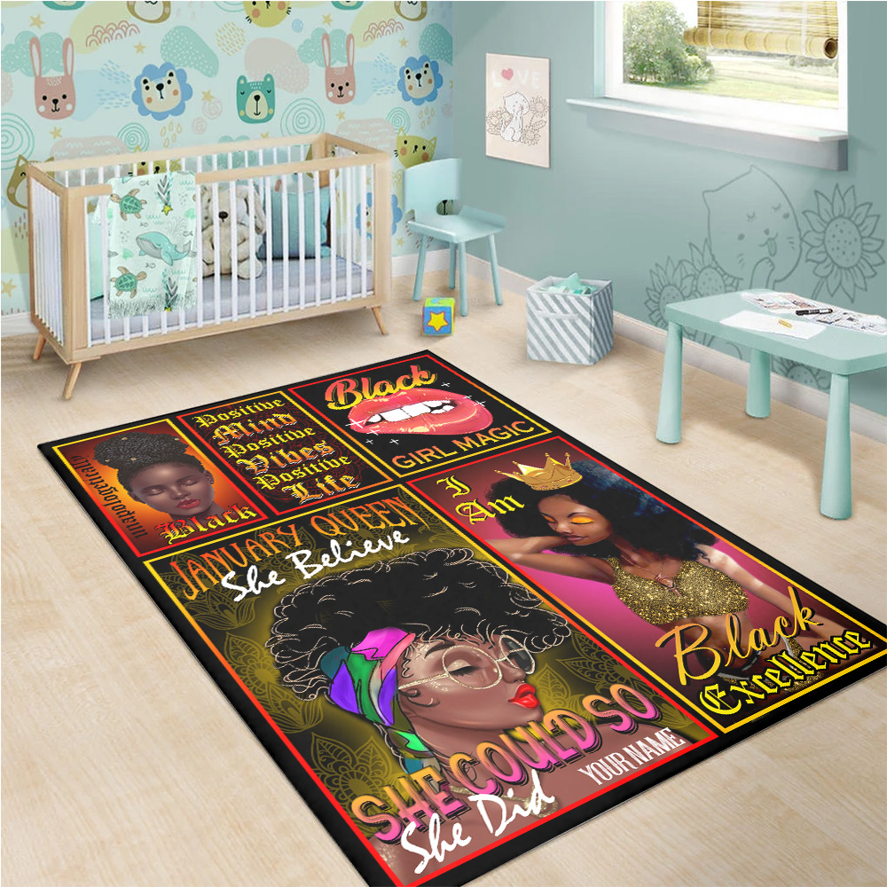 Personalized January Queen She Belive She Could So She Did Pattern 2 Vintage Area Rug Anti-Skid Floor Carpet For Living Room Dinning Room Bedroom Office
