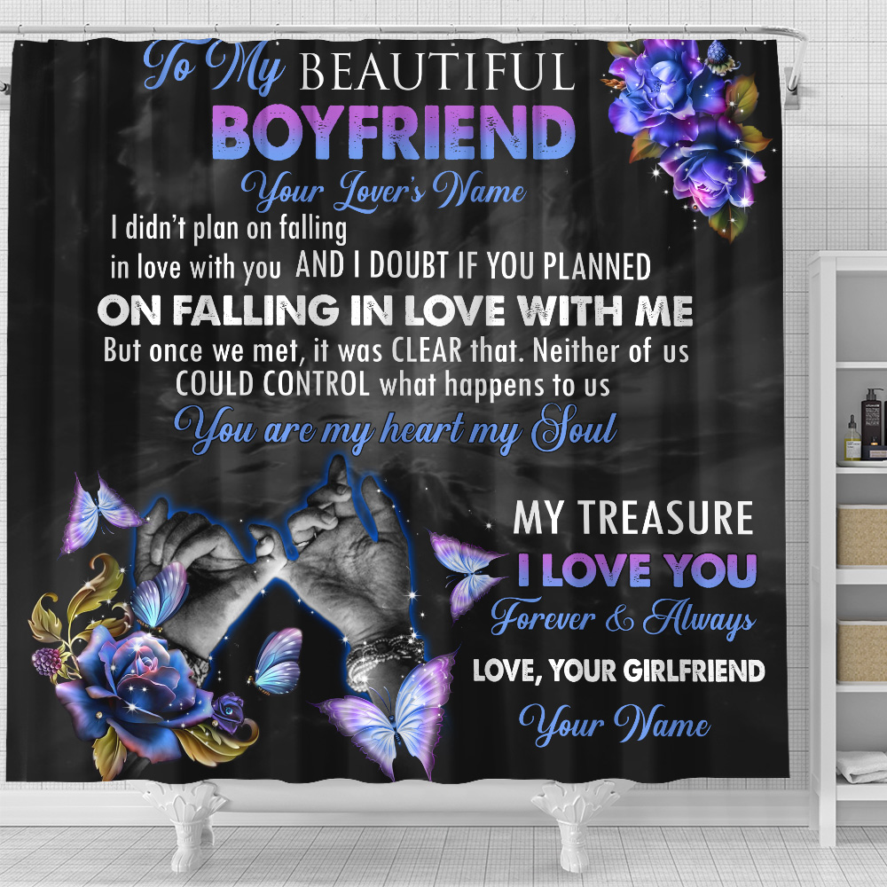 Personalized Lovely Shower Curtain To My Boyfriend You Are My Heart , My Soul Pattern 1 Set 12 Hooks Decorative Bath Modern Bathroom Accessories Machine Washable