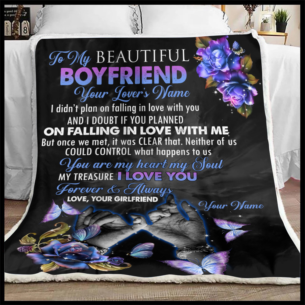 Personalized Lovely Fleece Throw Blanket To My Boyfriend You Are My Heart , My Soul Pattern 1 Lightweight Super Soft Cozy For Decorative Couch Sofa Bed