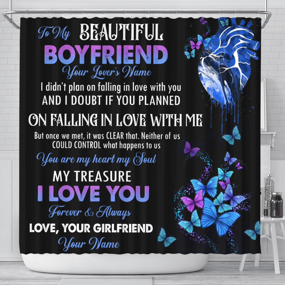 Personalized Lovely Shower Curtain To My Boyfriend You Are My Heart , My Soul Pattern 2 Set 12 Hooks Decorative Bath Modern Bathroom Accessories Machine Washable