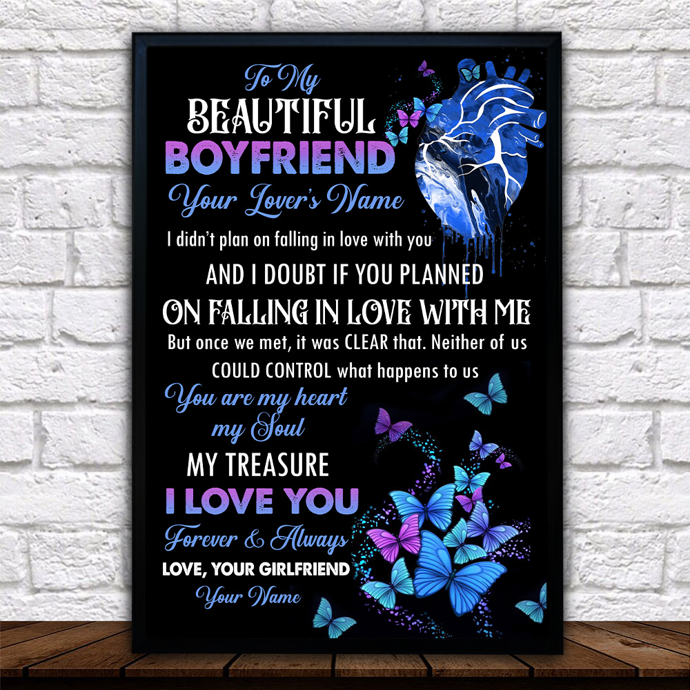 Personalized Lovely Wall Art Poster To My Boyfriend You Are My Heart , My Soul  Pattern 2 Prints Decoracion Wall Art Picture Living Room Wall