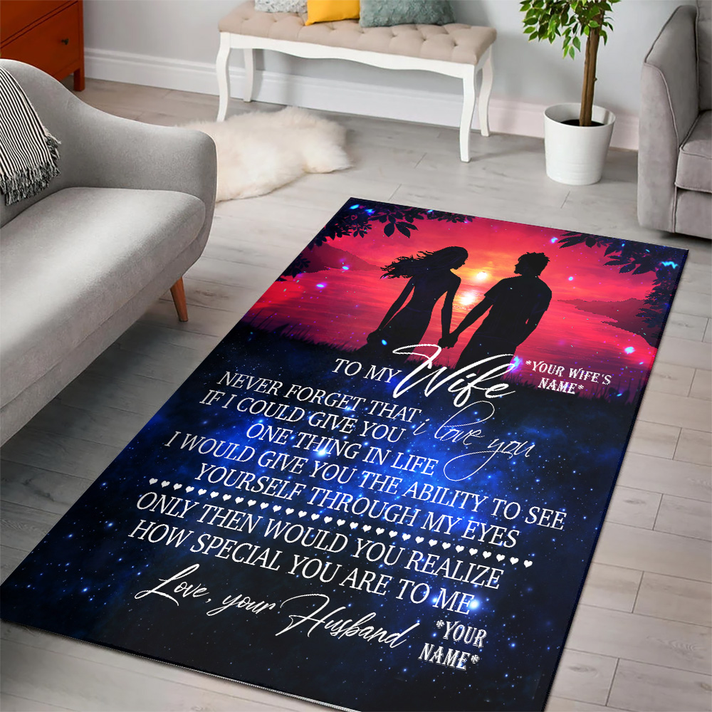 Personalized Floor Area Rugs To My Wife Never Forget That I Love You Indoor Home Decor Carpets Suitable For Children Living Room Bedroom Birthday Christmas Aniversary