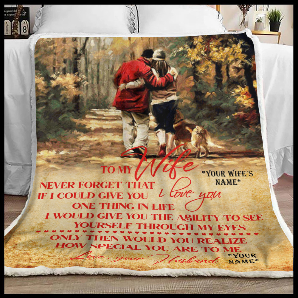 Personalized Fleece Throw Blanket To My Wife Never Forget That I Love You Lightweight Super Soft Cozy For Decorative Couch Sofa Bed