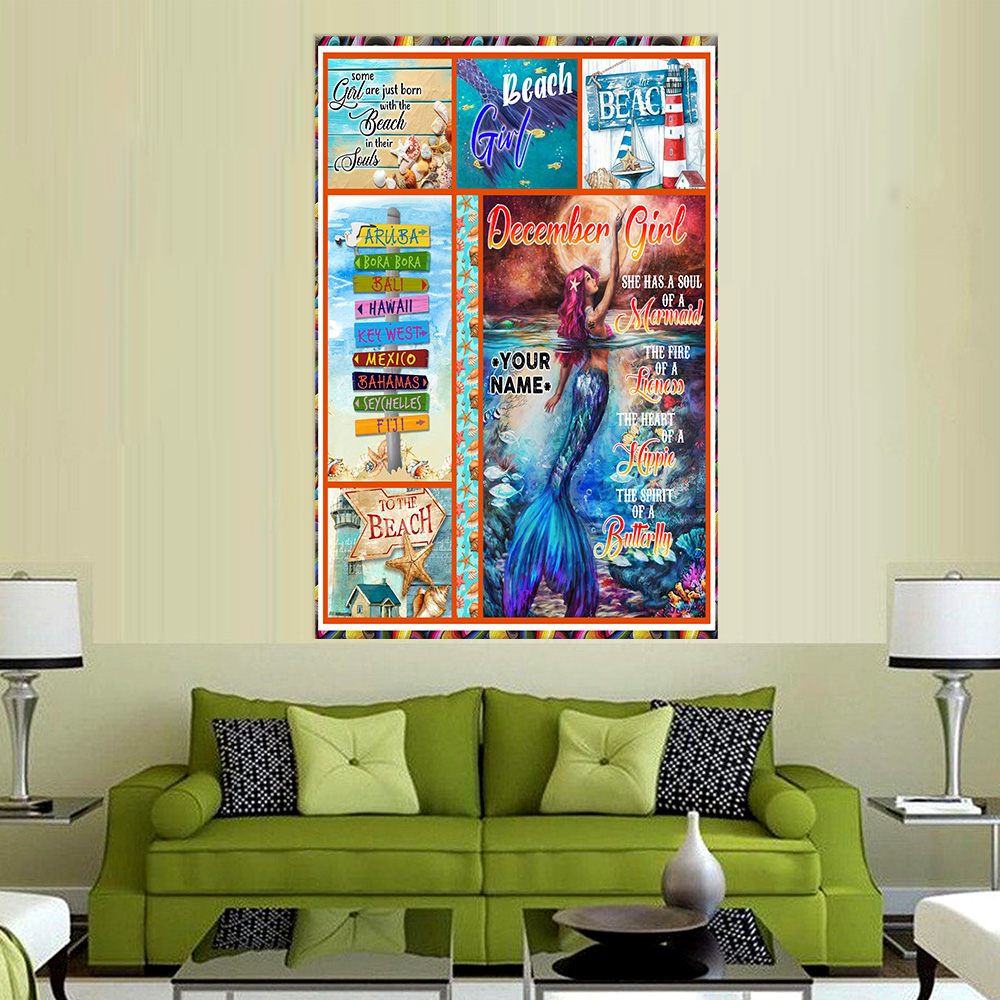 Personalized Wall Art Poster December Girl She Has A Soul Of A Mermaid Pattern 2 Prints Decoracion Wall Art Picture Living Room Wall