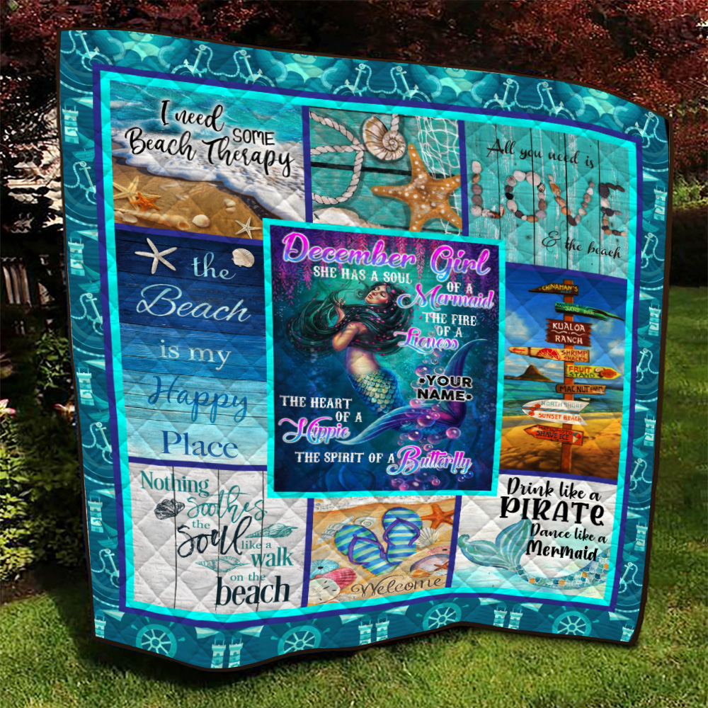 Personalized Quilt Throw Blanket December Girl She Has A Soul Of A Mermaid Pattern 1 Lightweight Super Soft Cozy For Decorative Couch Sofa Bed