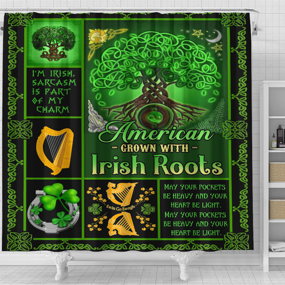 Personalized Lovely Shower Curtain St Patrick's Day American Grown With Irish Root Pattern 1 Set 12 Hooks Decorative Bath Modern Bathroom Accessories Machine Washable