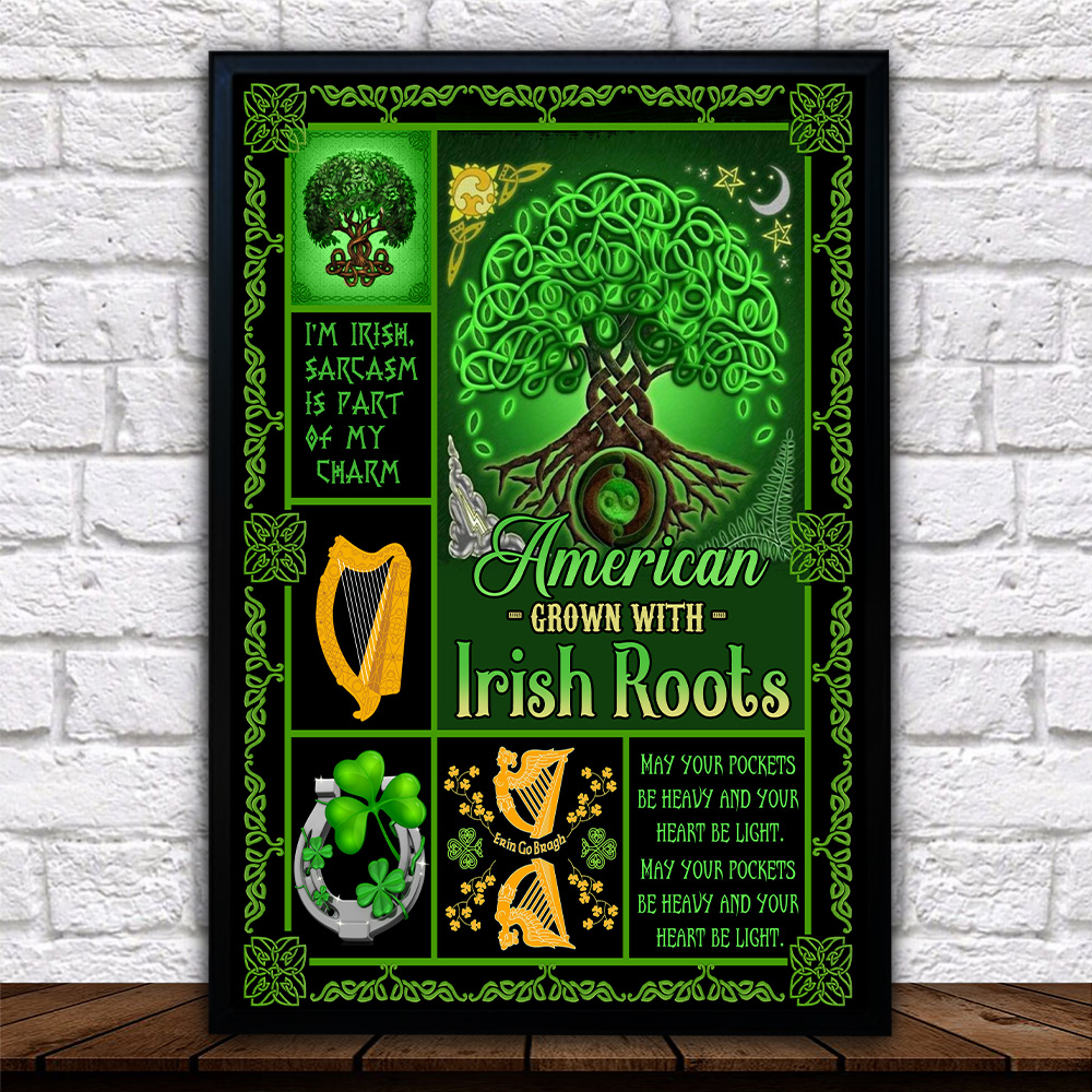 Personalized Lovely Wall Art Poster St Patrick's Day American Grown With Irish Root Pattern 1 Prints Decoracion Wall Art Picture Living Room Wall