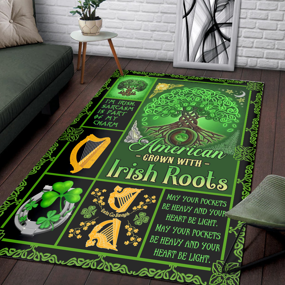 Personalized Lovely St Patrick's Day American Grown With Irish Root Pattern 1 Vintage Area Rug Anti-Skid Floor Carpet For Living Room Dinning Room Bedroom Office