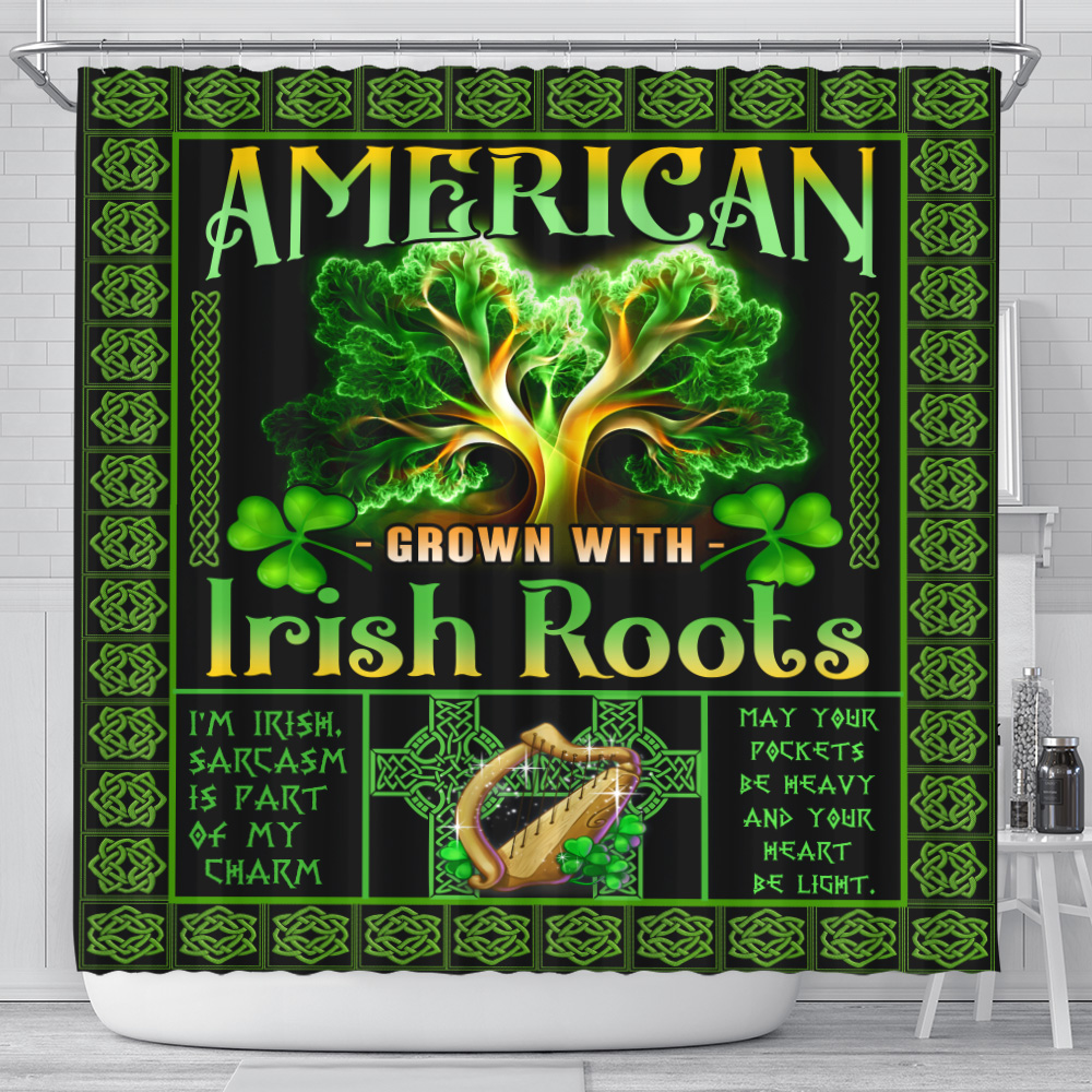 Personalized Lovely Shower Curtain St Patrick's Day American Grown With Irish Root Pattern 2 Set 12 Hooks Decorative Bath Modern Bathroom Accessories Machine Washable