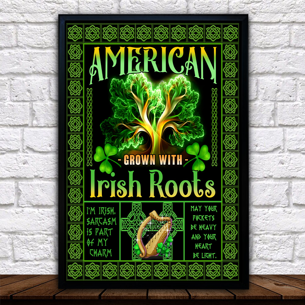 Personalized Lovely Wall Art Poster St Patrick's Day American Grown With Irish Root Pattern 2 Prints Decoracion Wall Art Picture Living Room Wall