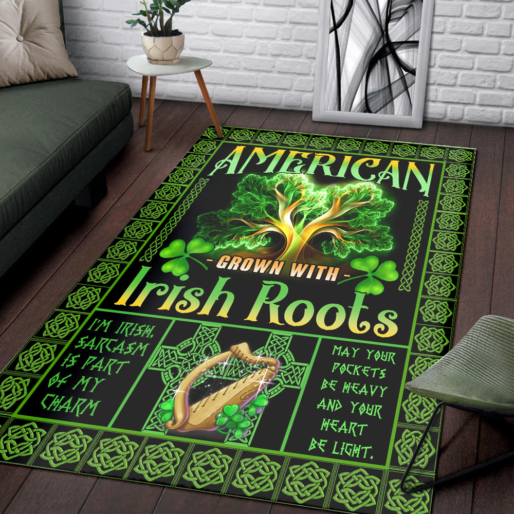 Personalized Lovely St Patrick's Day American Grown With Irish Root Pattern 2 Vintage Area Rug Anti-Skid Floor Carpet For Living Room Dinning Room Bedroom Office