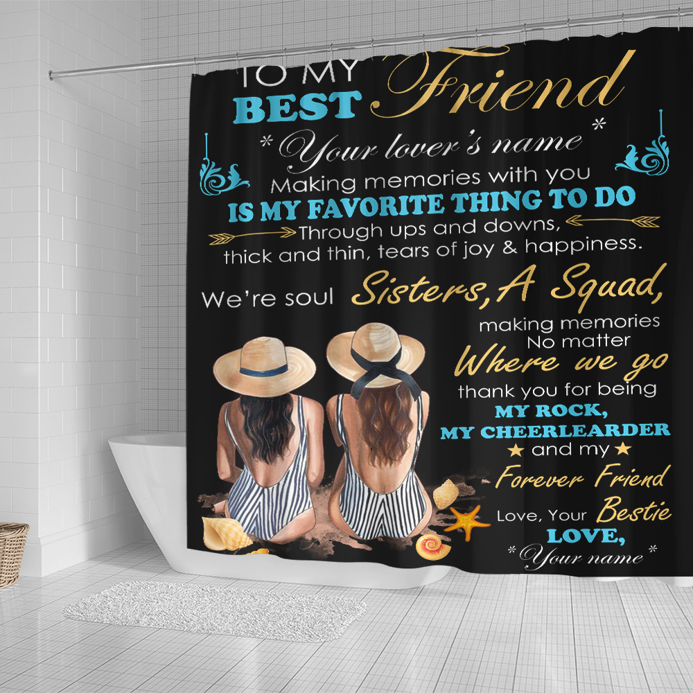 Personalized Shower Curtain 71 X 71 Inch To My Best Friend Is My Favorite Thing To Do Pattern 1 Set 12 Hooks Decorative Bath Modern Bathroom Accessories Machine Washable
