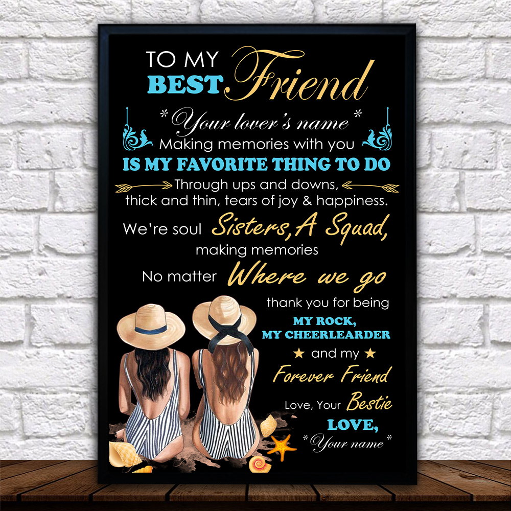 Personalized Wall Art Poster Canvas 1 Panel To My Best Friend Is My Favorite Thing To Do Pattern 1 Great Idea For Living Home Decorations Birthday Christmas Aniversary