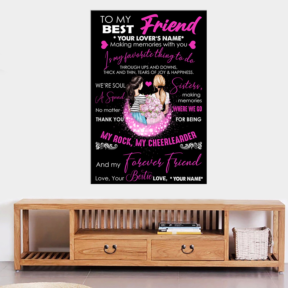 Personalized Wall Art Poster Canvas 1 Panel To My Best Friend Is My Favorite Thing To Do Pattern 2 Great Idea For Living Home Decorations Birthday Christmas Aniversary