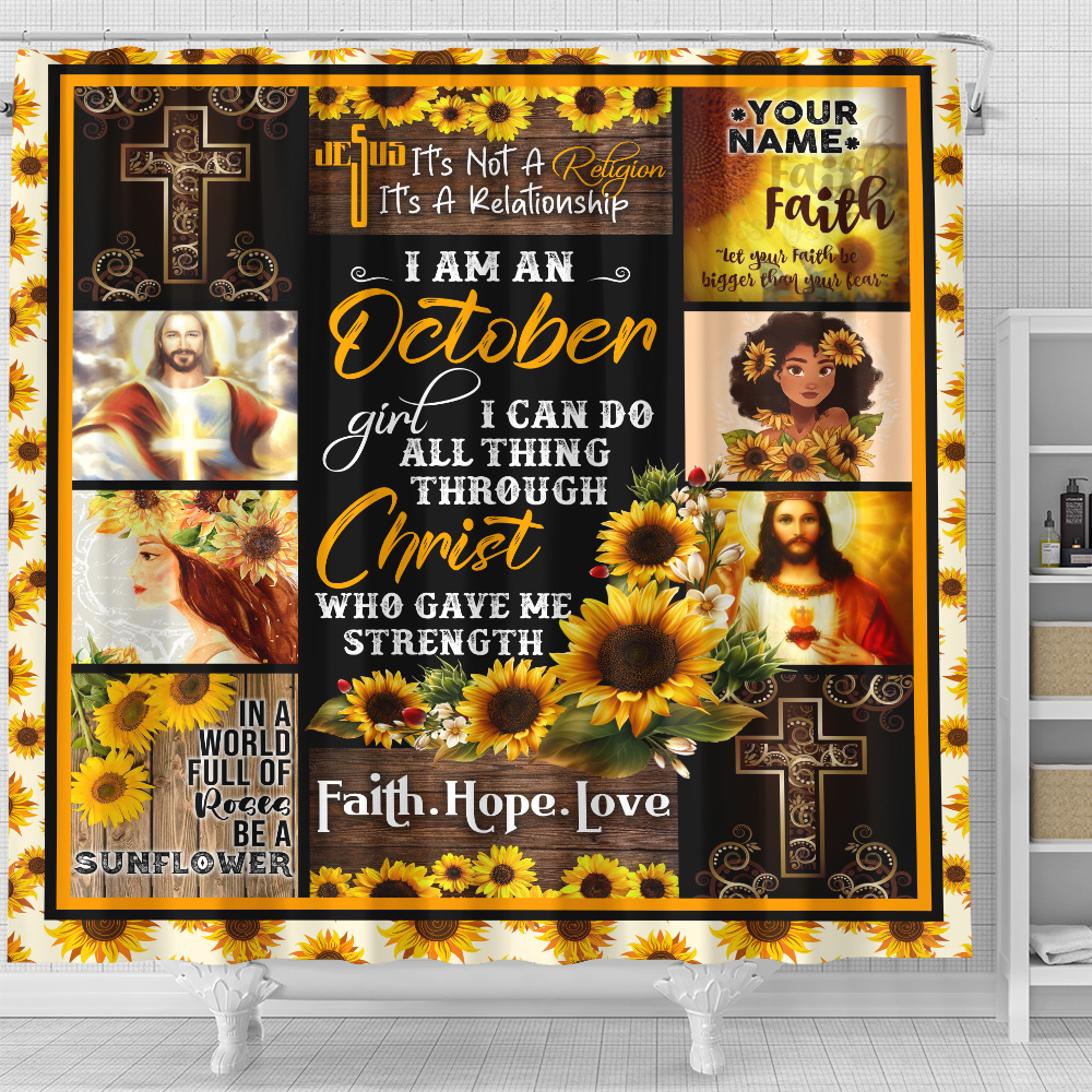 Personalized Shower Curtain I Am A October Girl I Can Do All Thing Through Christ Who Gave Me Strength Pattern 2 Set 12 Hooks Decorative Bath Modern Bathroom Accessories Machine Washable