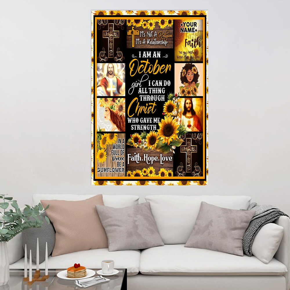 Personalized Wall Art Poster I Am A October Girl I Can Do All Thing Through Christ Who Gave Me Strength Pattern 2 Prints Decoracion Wall Art Picture Living Room Wall