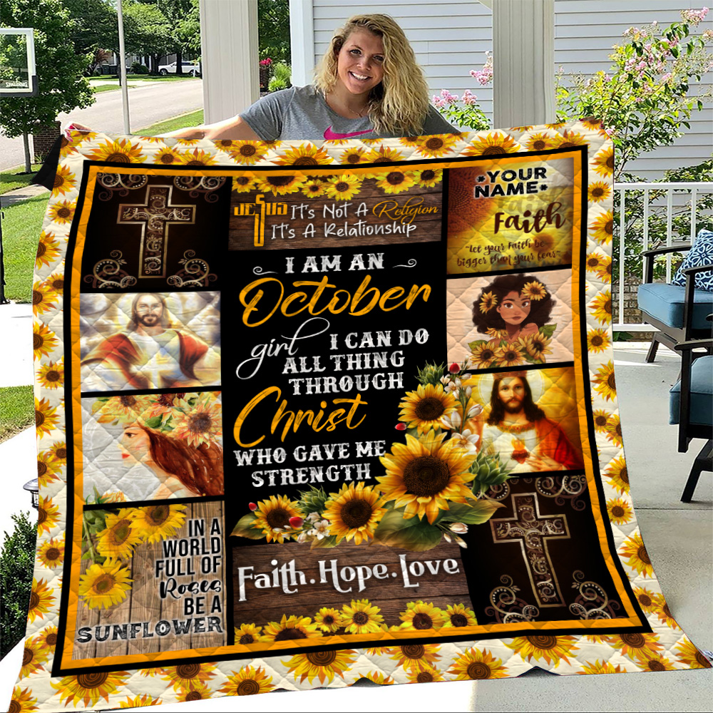 Personalized Quilt Throw Blanket I Am A October Girl I Can Do All Thing Through Christ Who Gave Me Strength Pattern 2 Lightweight Super Soft Cozy For Decorative Couch Sofa Bed