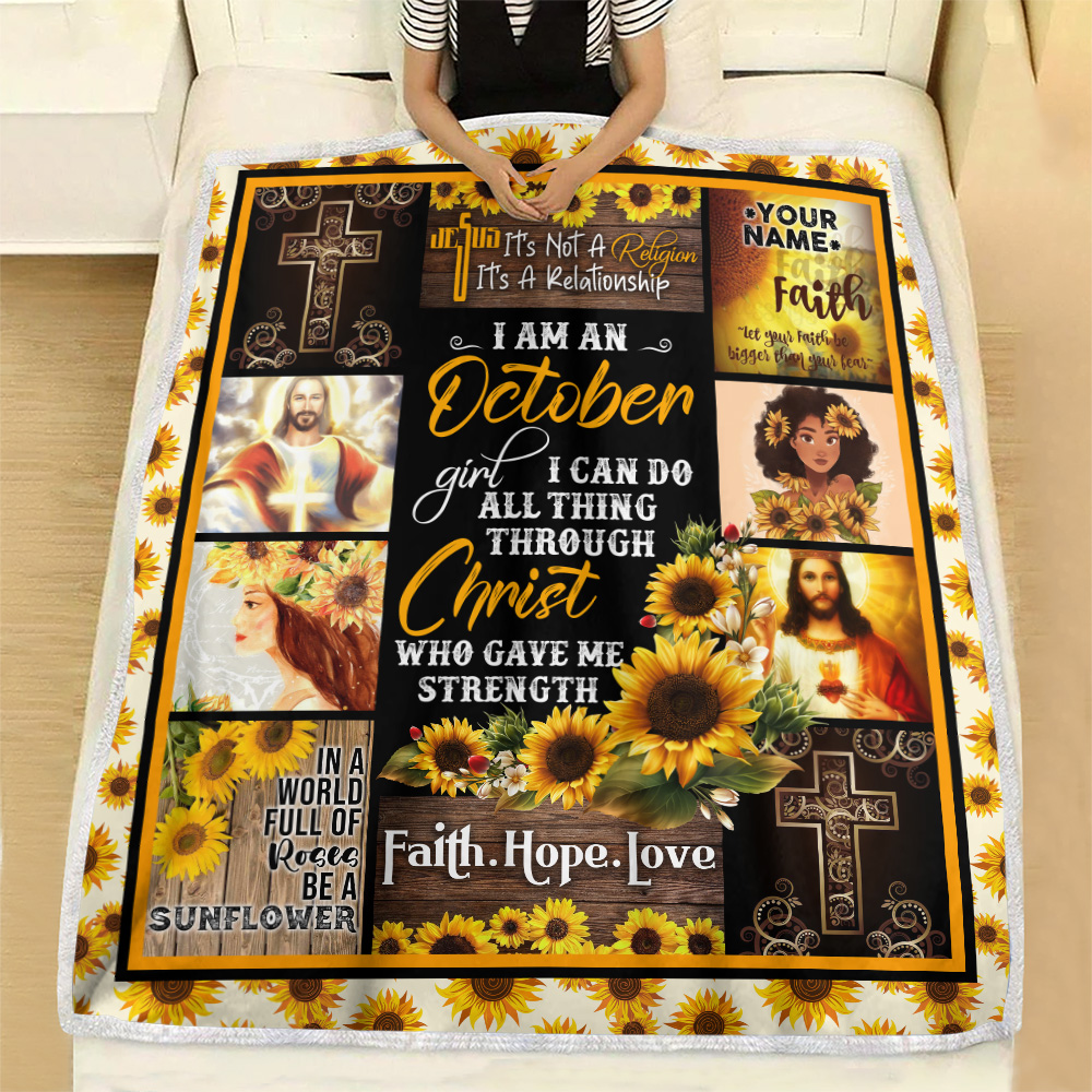 Personalized Fleece Throw Blanket I Am A October Girl I Can Do All Thing Through Christ Who Gave Me Strength Pattern 2 Lightweight Super Soft Cozy For Decorative Couch Sofa Bed