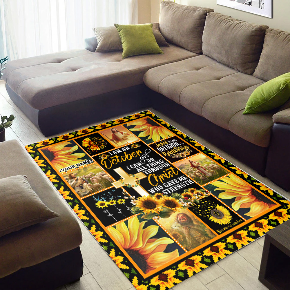 Personalized I Am A October Girl I Can Do All Thing Through Christ Who Gave Me Strength Pattern 1 Vintage Area Rug Anti-Skid Floor Carpet For Living Room Dinning Room Bedroom Office