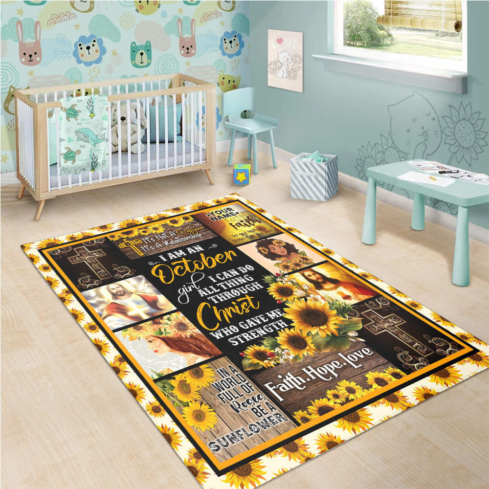 Personalized I Am A October Girl I Can Do All Thing Through Christ Who Gave Me Strength Pattern 2 Vintage Area Rug Anti-Skid Floor Carpet For Living Room Dinning Room Bedroom Office