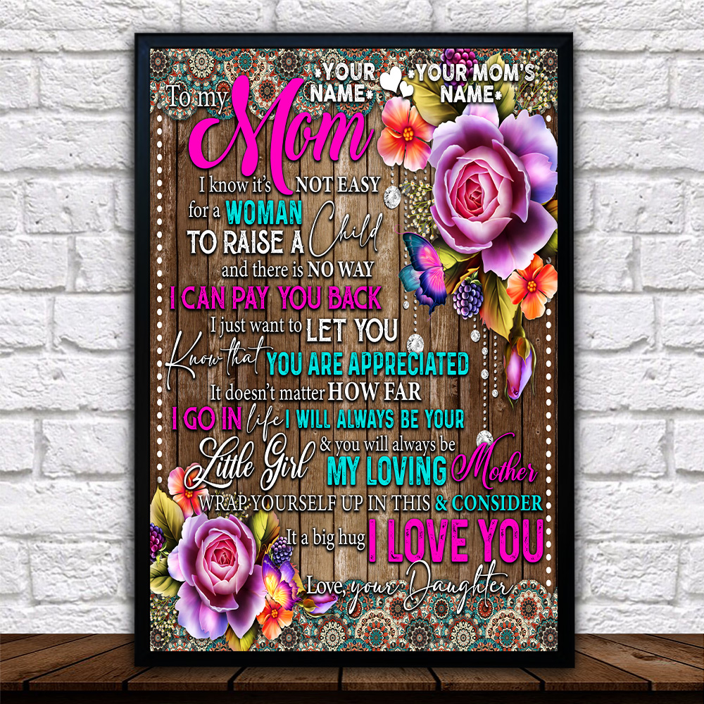 Personalized Lovely Wall Art Poster To My Mom From Daughter Let You Know That You Are Appreciated Pattern 2 Prints Decoracion Wall Art Picture Living Room Wall