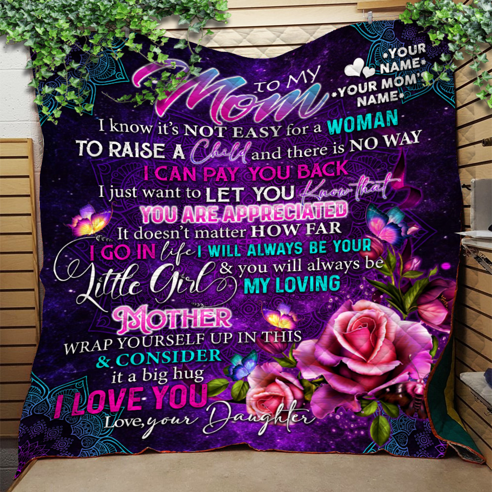 Personalized Lovely Quilt Throw Blanket To My Mom From Daughter Let You Know That You Are Appreciated Pattern 1 Lightweight Super Soft Cozy For Decorative Couch Sofa Bed