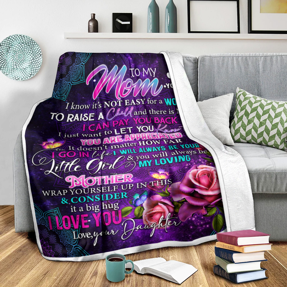 Personalized Lovely Fleece Throw Blanket To My Mom From Daughter Let You Know That You Are Appreciated Pattern 1 Lightweight Super Soft Cozy For Decorative Couch Sofa Bed