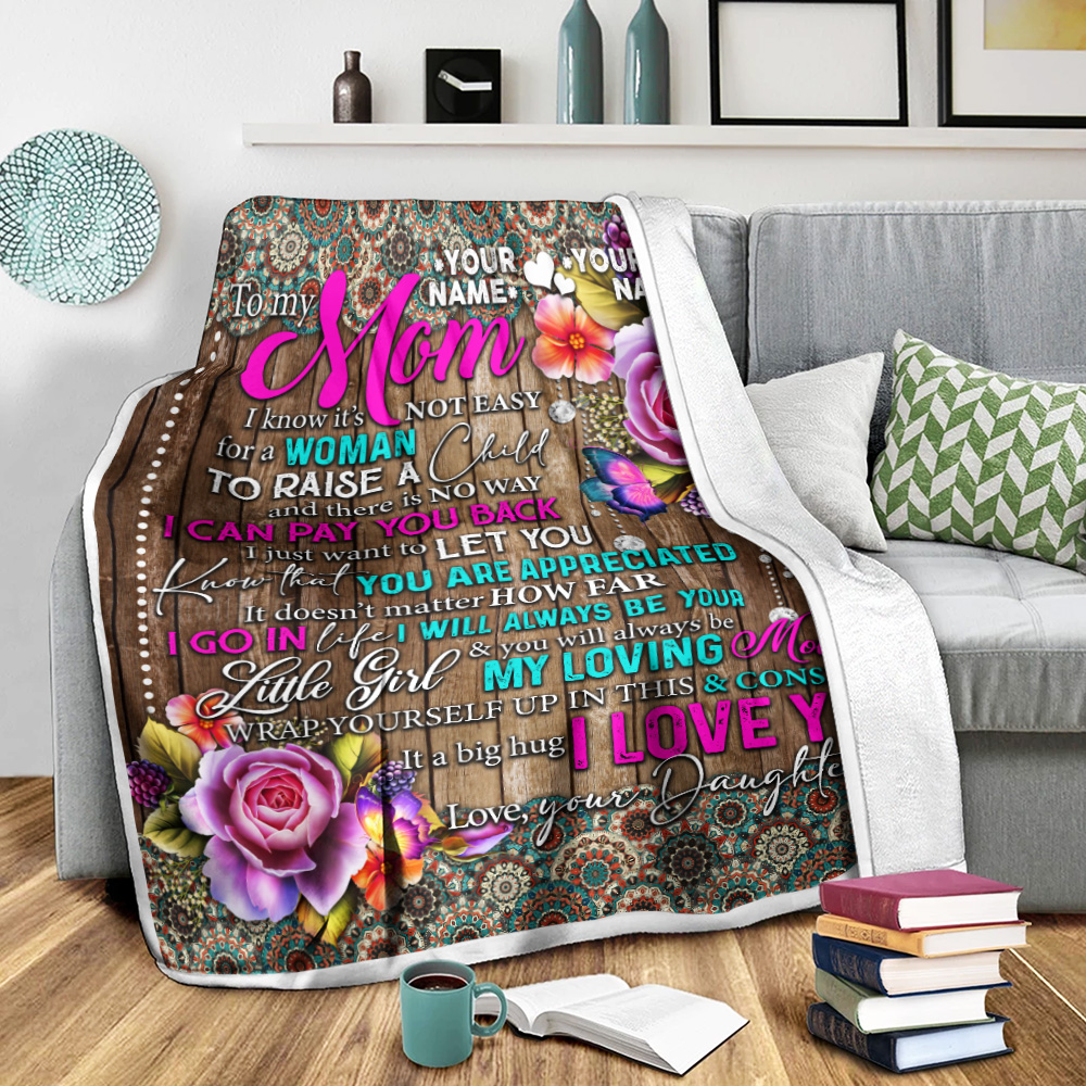 Personalized Lovely Fleece Throw Blanket To My Mom From Daughter Let You Know That You Are Appreciated Pattern 2 Lightweight Super Soft Cozy For Decorative Couch Sofa Bed