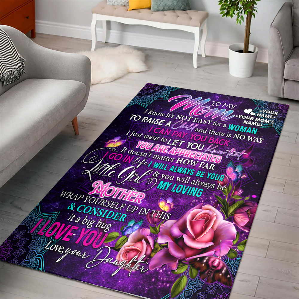 Personalized Lovely To My Mom From Daughter Let You Know That You Are Appreciated Pattern 1 Vintage Area Rug Anti-Skid Floor Carpet For Living Room Dinning Room Bedroom Office